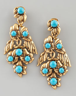 Oscar de la Renta Multi-Flower Drop Earrings