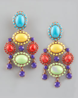 Oscar de la Renta Cabochon Drop Clip Earrings, Multicolor