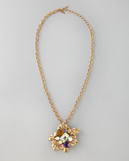 Oscar de la Renta Multicolor Brooch-Pendant Necklace