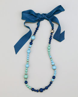 Lanvin Beaded Ribbon Necklace, Turquoise