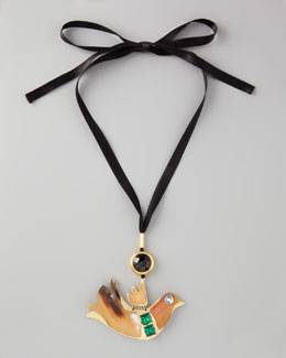 Marni Bird-Pendant Ribbon Necklace