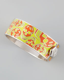 Alexander McQueen Medium Enamel Skull Bracelet, Orange/Yellow