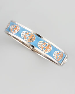 Alexander McQueen Small Enamel Skull Bangle, Sky Blue/Blush