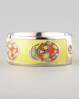 Alexander McQueen Skull Enamel Ring, Yellow/Orange