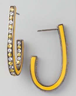 MCL by Matthew Campbell Laurenza Mixed Pave Sapphire J Hoop Earrings, Yellow