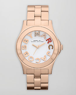 MARC by Marc Jacobs Pave MARC Rivera Watch, Rose Golden