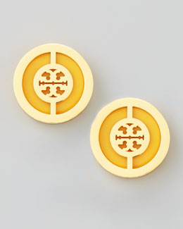 Tory Burch Deco Logo Stud Earrings, Golden