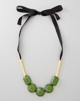Marni Resin Bead Ribbon Necklace, Garden Green
