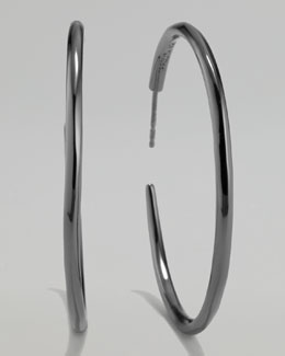 Ippolita Black Silver Squiggle Hoop Earrings