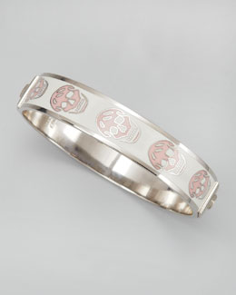 Alexander McQueen Small Enamel Skull Bangle, White/Pink