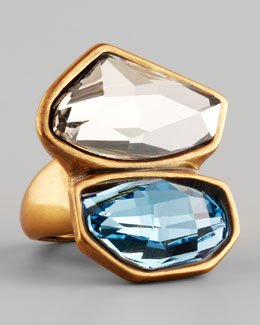 Oscar de la Renta Abstract Faceted Crystal Ring, White/Aquamarine