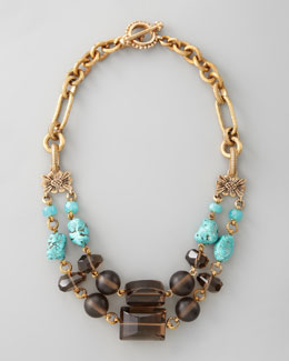 Stephen Dweck Turquoise & Smoky Quartz Necklace