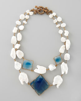 Stephen Dweck Pearl & Blue Agate Necklace