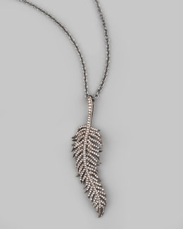 "Tai Feather Pendant Necklace, 30""L"