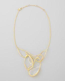 Alexis Bittar Ophelia Vine Bib Necklace, Clear