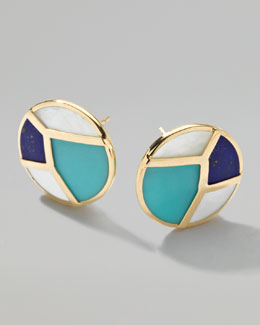 Ippolita Gold Rock Candy Multi-Stone Mosaic Stud Earrings