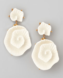 Oscar de la Renta Resin Flower Earrings, Ivory