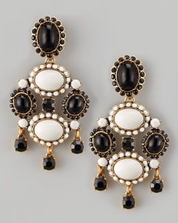 Oscar de la Renta Cabochon Drop Clip Earrings, Black/White