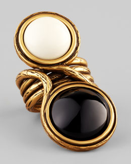 Oscar de la Renta Two-Cabochon Ring, Black/White