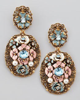 Oscar de la Renta Baroque Floral Earrings