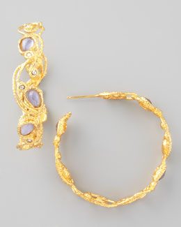 Alexis Bittar Mauritius Golden Lace Hoop Earrings