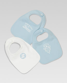 Gucci Set of Three Logo Bibs, White/Light Blue
