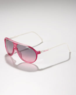 Carrera Children's Classic Champion Aviator Sunglasses, Fuchsia/White