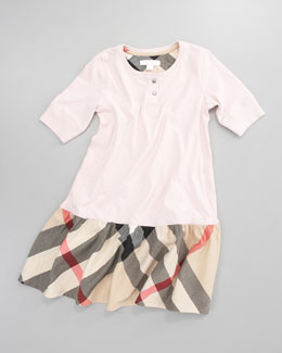 Burberry Henley Check-Skirt Dress, Ice Pink