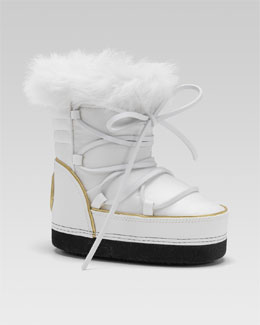 Gucci Fur-Lined Snow Boot, White