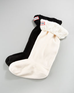 Hunter Boot Cable Fleece Welly Socks, XXS-M