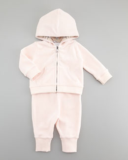 Burberry Check-Trim Velour Jogging Set, Ice Pink