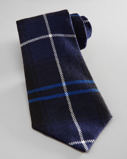 Oscar de la Renta Boys' Plaid Flannel Tie, Navy