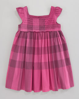 Burberry Voile Check Dress, Fuchsia