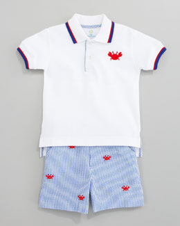 Florence Eiseman Who's Crabby Polo Shirt & Embroidered Crab Shorts