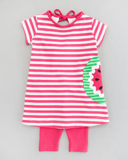 Florence Eiseman Watermelon Striped Knit Tunic & Leggings Set, 12-24 Months