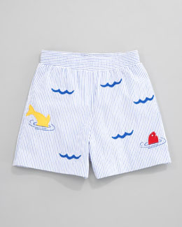 Florence Eiseman Dive In Seersucker Swim Shorts