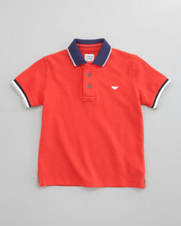 Armani Junior Striped-Trim Polo, Red