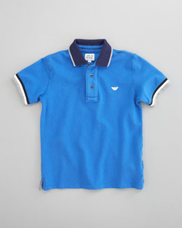Armani Junior Striped Polo, Blue