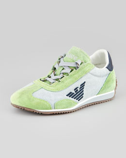Armani Junior Color Suede Leather Trim Sneaker, Green