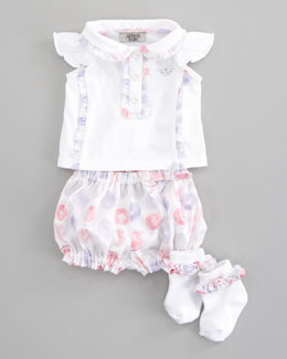 Armani Junior Ruffle-Trim Top, Bloomers & Socks