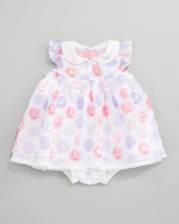 Armani Junior Printed Ruffle Voile  Dress