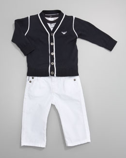 Armani Junior Contrast-Trim Cardigan