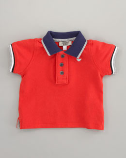 Armani Junior Striped-Trim Polo Red, Sizes 12-24 Months