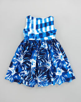 Oscar de la Renta Gingham Floral Party Dress