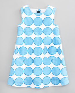 Oscar de la Renta Blue Dot Linen A-line Dress