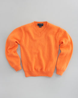 Oscar de la Renta Cashmere V-Neck Sweater, Orange