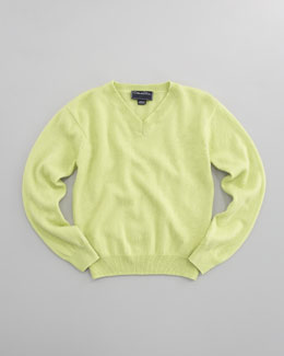 Oscar de la Renta Cashmere V-Neck Sweater, Lime