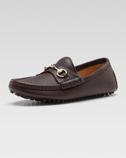 Gucci Leather Driving Loafer, Dark Brown