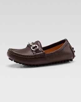 Gucci Damo Leather Driving Loafer, Dark Brown