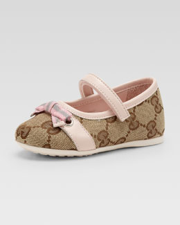 Gucci Marilyn GG Canvas Mary Jane Ballerina, Beige Ebony/Pink